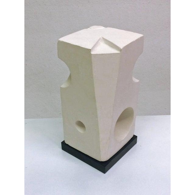 White Plaster Geometric Sculpture - Image 5 of 6