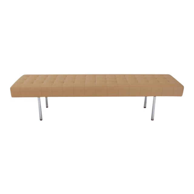 Tufted Upholstery Long Bench on Chrome Cylinder Legs Daybed For Sale
