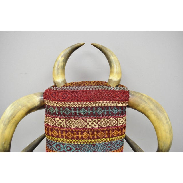 Early 20th Century Early 20th Century Antique Upholstered Steer Horn Parlor Chair For Sale - Image 5 of 10
