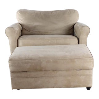 Modern Lane Furniture Beige Upholstered Sofa Bed and Ottoman For Sale
