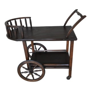Hunt Country Furniture Rough Cut Tea Cart For Sale