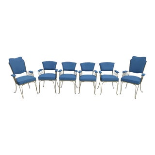 1940s Vintage Blue Dining Chairs- Set of 6 For Sale
