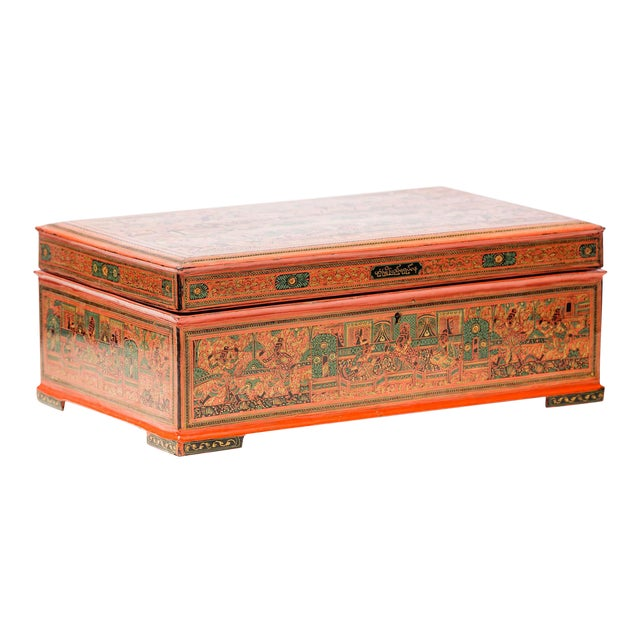 Asian Antique Extra Large Hand-Painted Red Burmese Lacquered Box For Sale