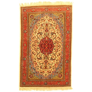 "Pasargad Ny Original Persian Sarouk Hand-Knotted Rug - 3'7"" X 5'8"" For Sale"