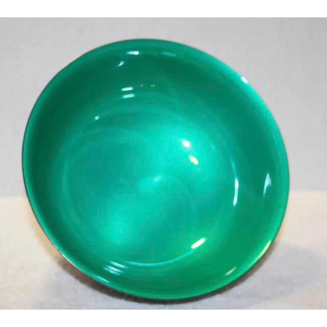 Reed & Barton Silver Plated & Bright Green Enamel Bowl For Sale In Kansas City - Image 6 of 10