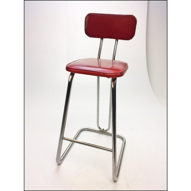 Mid Century Modern Red Vinyl Bar Stool - Image 4 of 11