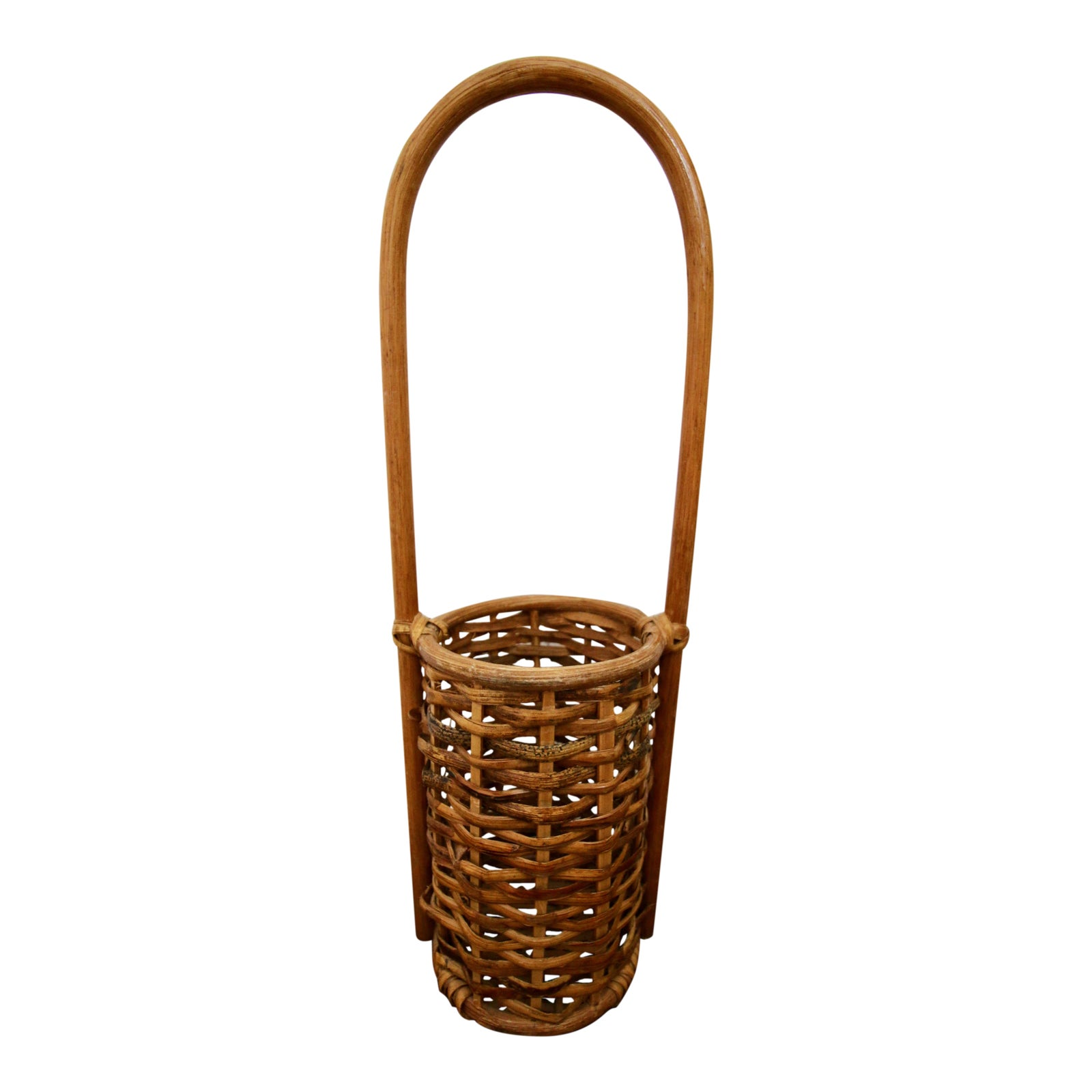 Bamboo Rattan Wine Bottle Holder Caddy Basket | Chairish
