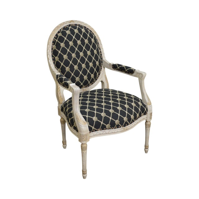 Councill French Louis XVI Style Paint Frame Fauteuil Arm Chair - Fauteuil style