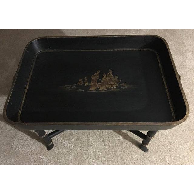 Chinoiserie Vintage Chinoiserie Hand Painted Wooden Rectangle Tray Table For Sale - Image 3 of 13