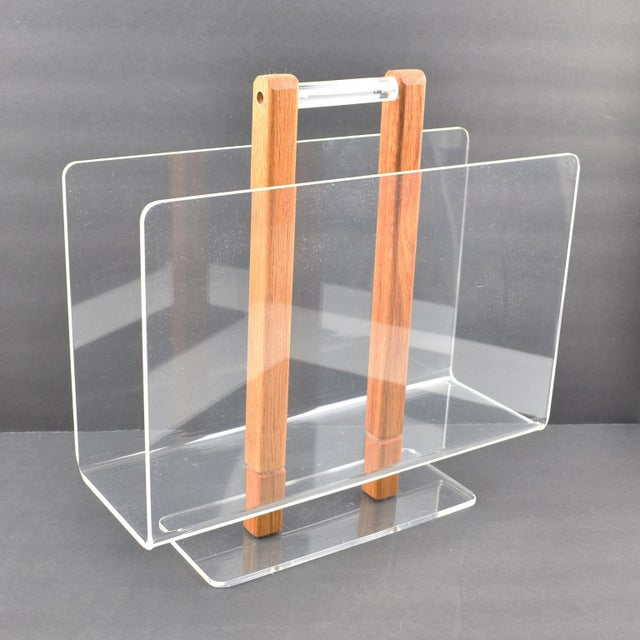 Contemporary Grosfeld House 1970s Lucite and Oak Wood Magazine Rack Stand For Sale - Image 3 of 7