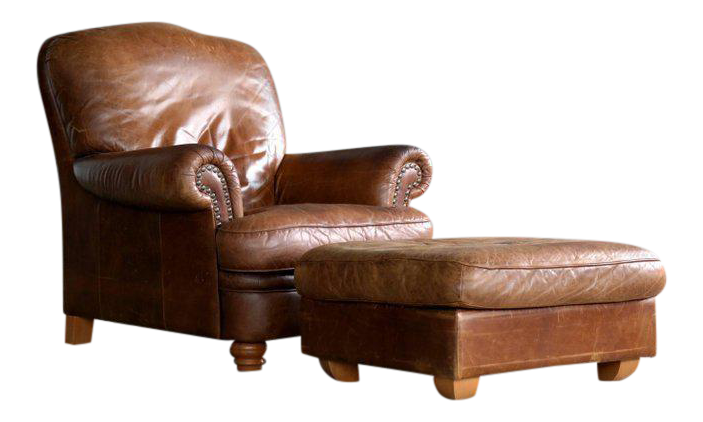 Danish Mid Century Large Size Cognac Color Leather Club Chair With Ottoman    Image 1