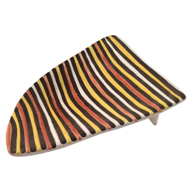 Vintage Italian Striped Ceramic Footed Dish - Image 5 of 7