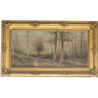 Early 20th Century Antique Foot Bridge on a Misty Day Oil on Linen Canvas Painting For Sale