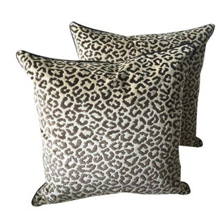 Lee Jofa Down Feather Leopard Velvet Pillows - Set of 2 For Sale