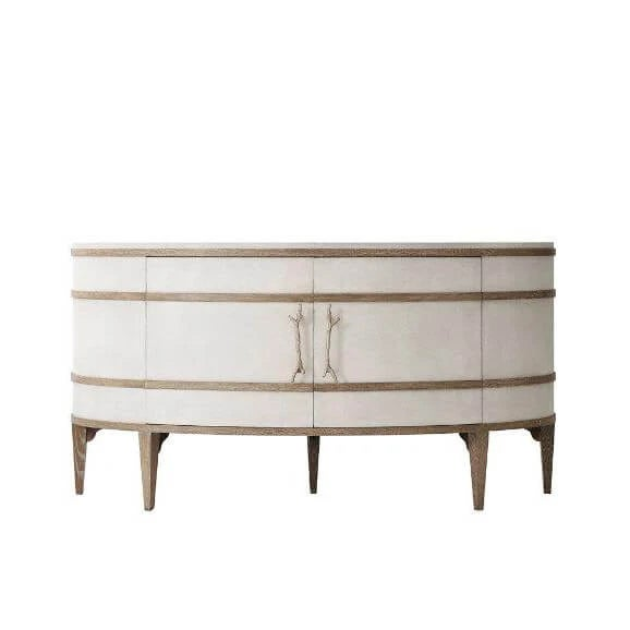Modern Modern Embossed Leather Demi Lune Cabinet For Sale - Image 3 of 7