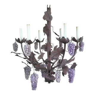 Large Vintage Italian Tole Amethyst Purple Grape Chandelier For Sale