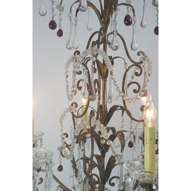 Antique Italian Gold Leaf Crystal Chandelier - Image 6 of 10