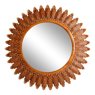 Hand Carved Ash Wood 'Monica' Mirror For Sale
