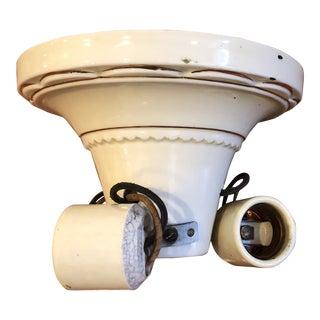Art Deco Porcelain Flush Mount Light For Sale