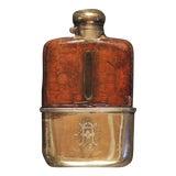Image of 1920s Vintage English Silver/Croc Monogrammed Flask For Sale