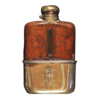 1920s Vintage English Silver/Croc Monogrammed Flask For Sale