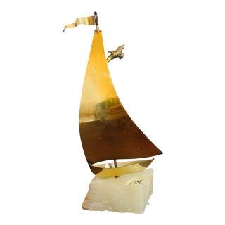 Vintage Mid Century Modern John DeMott Brutalist Sailboat Brass, Bronze, and Stone Sculpture For Sale