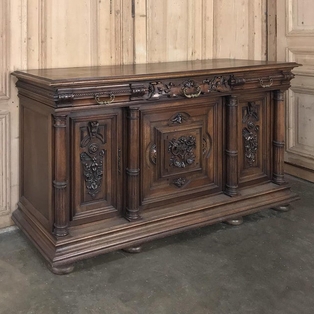 Baroque 19th Century French Walnut Henri II Buffet For Sale - Image 3 of 13