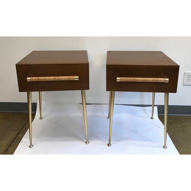 T.H. Robsjohn-Gibbings Walnut and Brass Nightstands - a Pair For Sale - Image 12 of 12