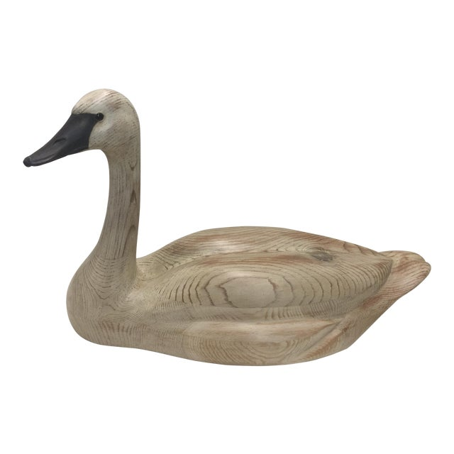 Carved Swan Decoy by Hick Young For Sale