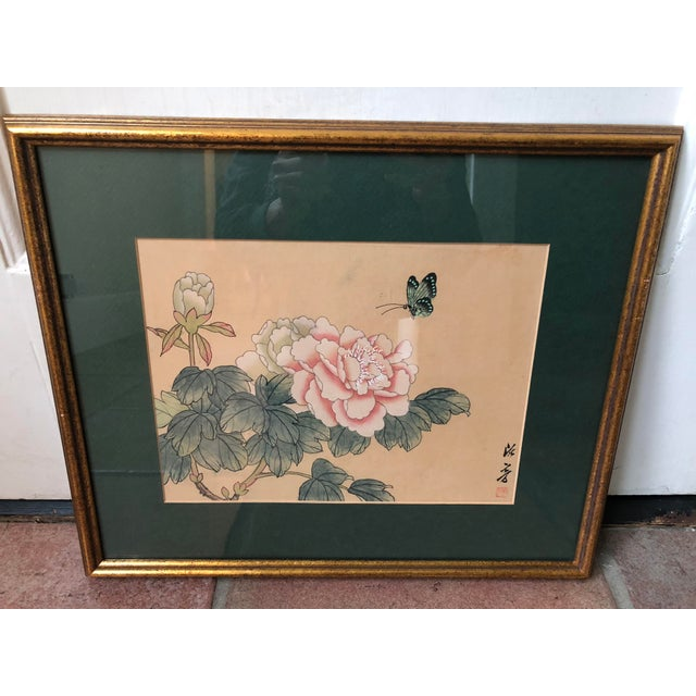 1940s Vintage Chinese Floral Watercolor Paintings - A Pair For Sale - Image 4 of 11