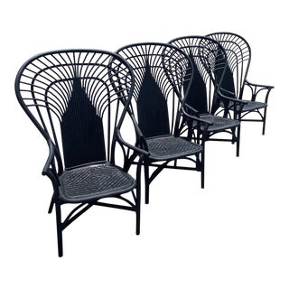 Boho Chic Bamboo and Rattan Peacock Chairs - Set of 4 For Sale