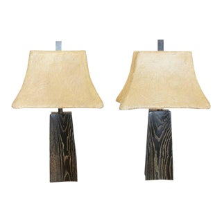 James Mont Cerused Oak Table Lamps - A Pair