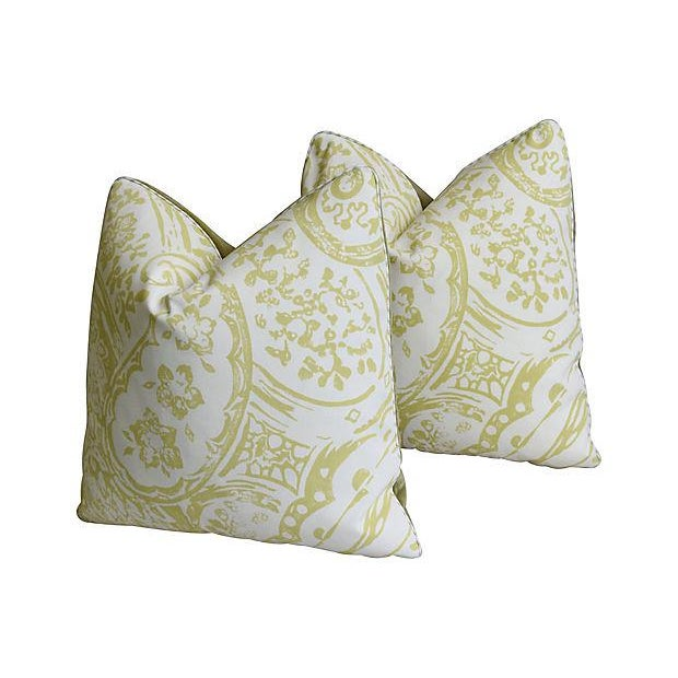 "Designer Lee Jofa Paisley & Mohair Feather/Down Pillows 21"" Square - Pair For Sale In Los Angeles - Image 6 of 14"