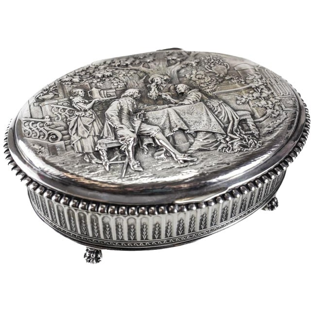 Circa 1905 George Roth German 800 Silver Footed Oval Box - Image 7 of 7
