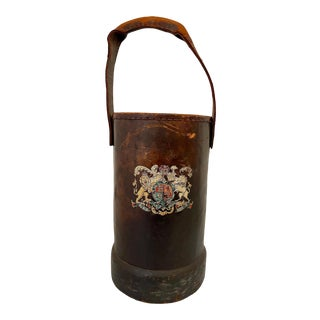 Antique French Leather Fire Bucket For Sale