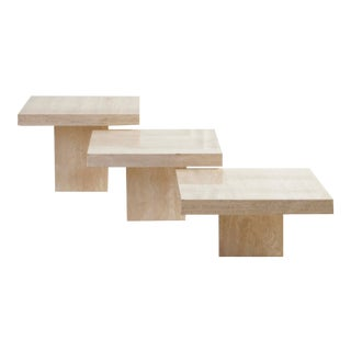 Trio of Polished Travertine Cocktail Tables For Sale