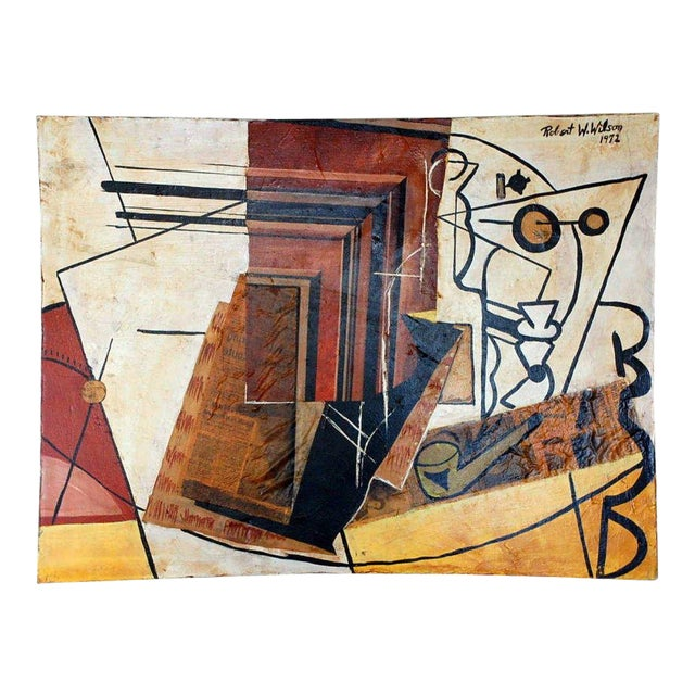 Cubist Mixed Media Oil Painting by Robert Wilson For Sale