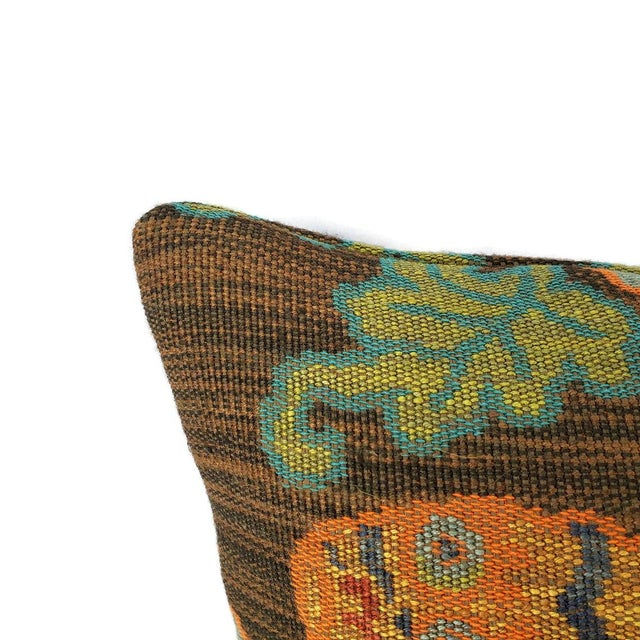 "2020s F. Schumacher Khotan Weave in the Color Sable Square Pillow Cover - 20"" X 20"" Brown, Orange, Blue, Tiger Weave Throw Cushion Case For Sale - Image 5 of 8"