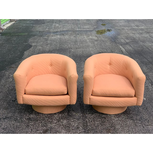 Textile 1970s Milo Baughman Style Tufted Swivel Lounge Chairs - a Pair For Sale - Image 7 of 13