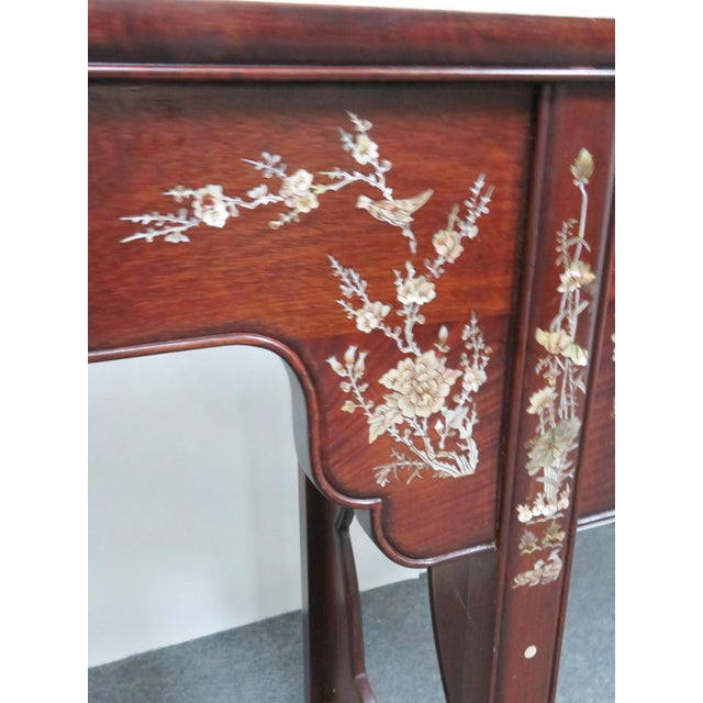 Red Chinese Rosewood Inlaid Altar Style Console Table For Sale - Image 8 of 9