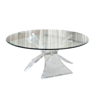 1970s Hollywood Regency Lion in Frost Lucite and Glass Butterfly Coffee Table For Sale