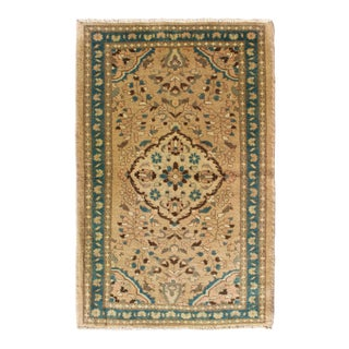 1950s Vintage Persian Lilihan Floral Medallion Rug - 2′8″ × 4′3″ For Sale