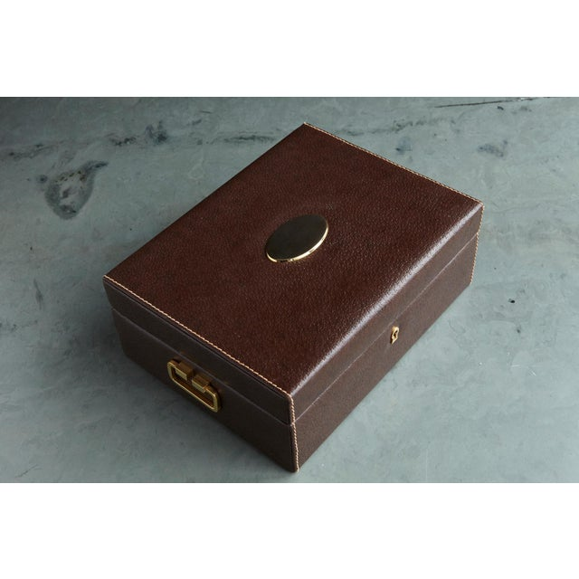 Mark Cross Leather Brown Leather Jewelry Box From the Collection of Ann Turkel For Sale - Image 12 of 13