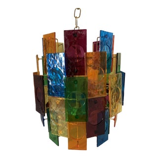 Mid-Century Modern Multicolor Lucite Swag Lamp For Sale