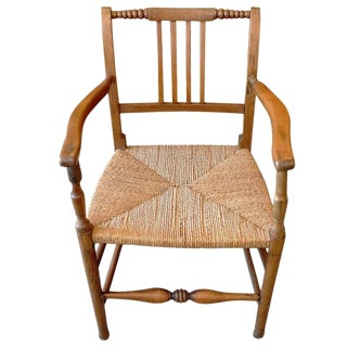 French 19th Century French Country Armchair With Rush Seat. For Sale