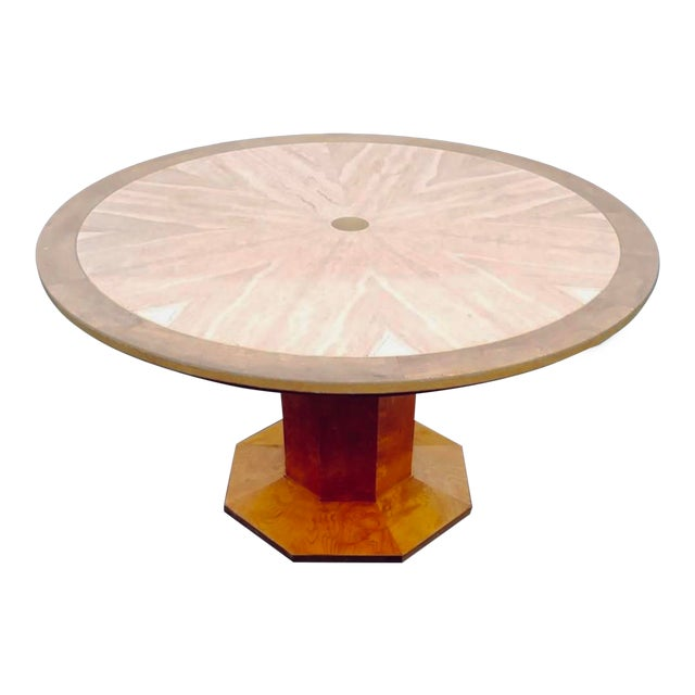 1960s Hollywood Regency Burled Wood Game Table For Sale