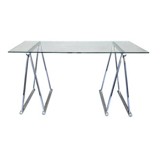 Chrome Saw Horse Desk Table