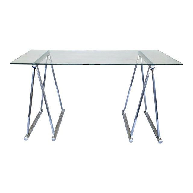 Admirable Chrome Saw Horse Desk Table Download Free Architecture Designs Scobabritishbridgeorg