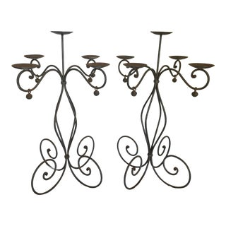 "Pair of Wrought Iron Candle Holder 32"" Tall 5 Light For Sale"