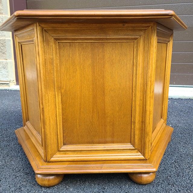 Goldenrod Ethan Allen Heirloom Nutmeg Maple Hexagonal Storage Table For Sale - Image 8 of 13